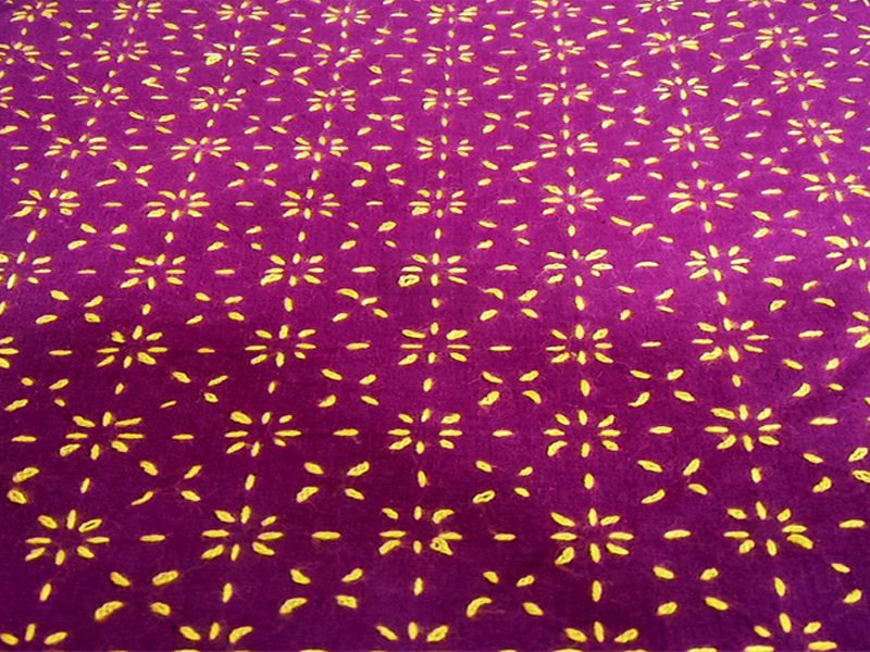 Cotton King Size Nakshi Khatha-Purple & Yellow