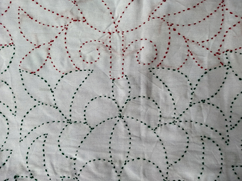 Cotton King Size Nakshi Khatha -White