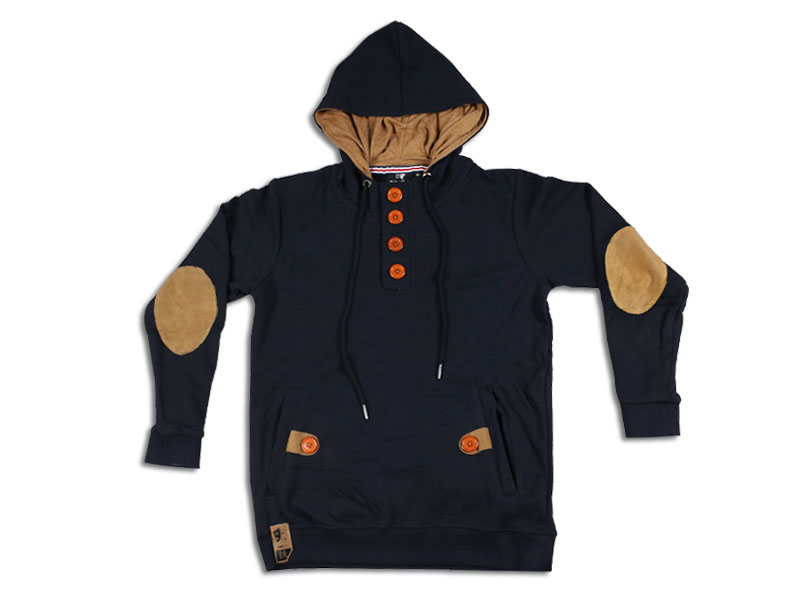 Men's Deep Blue  and Brown Hoodie Jacket