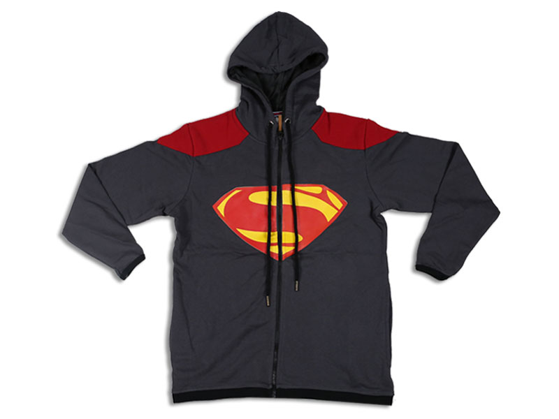 Men's Grey and Red Superman Hoodie Jacket
