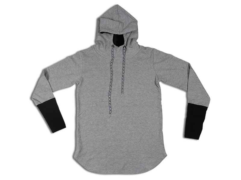 Men's Grey And Black Solid Sweat Shirt