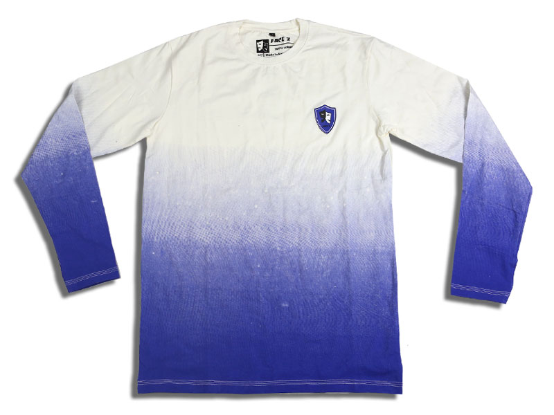 Men's White and Blue Full Sleeve T Shirt