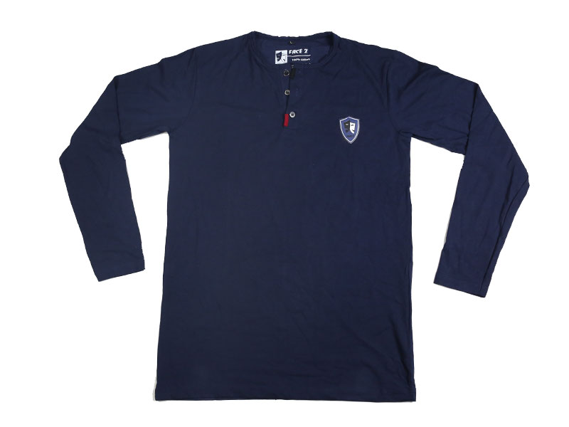 Men's Navy Blue Full Sleeve T Shirt