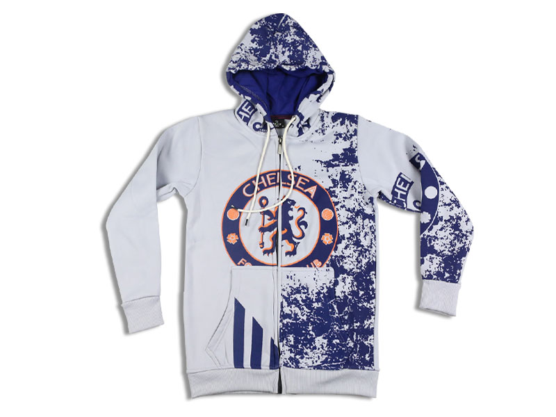 Men's Blue and White Chelsea hoodie Jacket