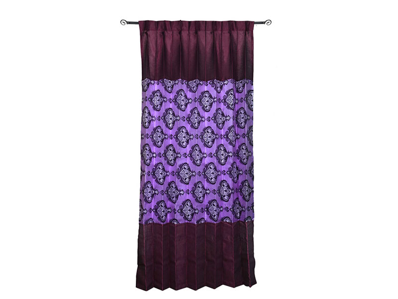 Purple and Maroon Satin Fabric Curtain