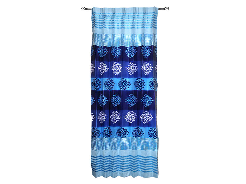 Sky Blue and Blue Satin Fabric Curtain