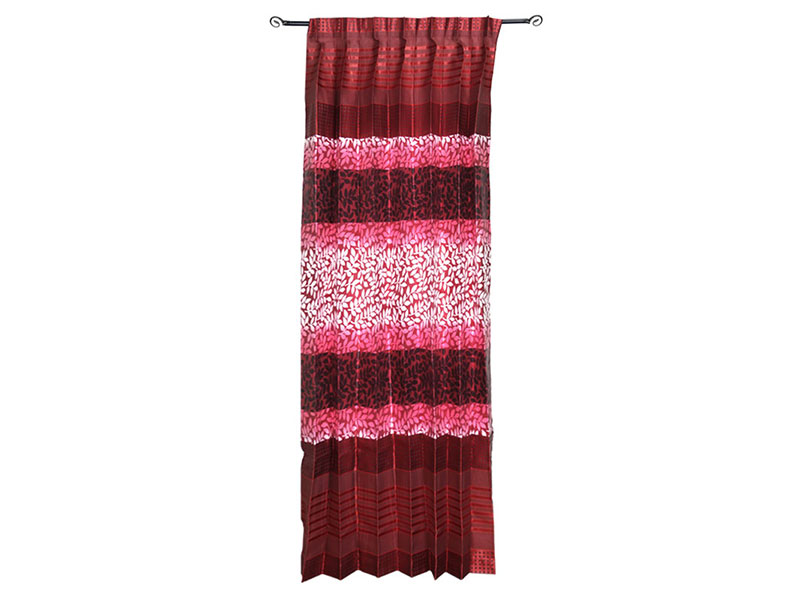 Red Printed Satin Fabric Curtain