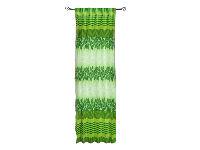 Green Printed Satin Fabric Curtain