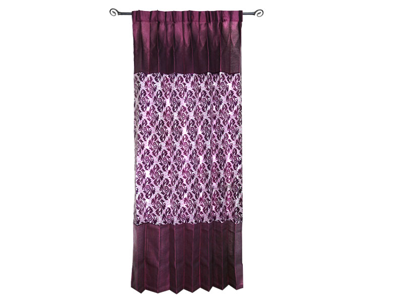 Maroon Printed Satin Fabric Curtain