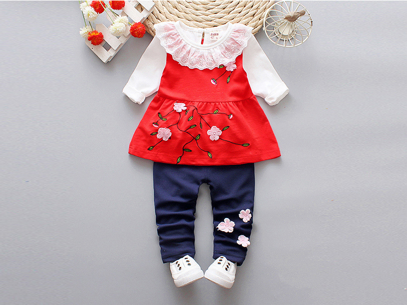 Red Frock and Navy Blue Pant For Kids