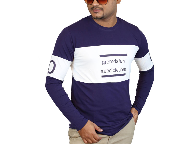 Men's White & Navy Blue Long Sleeve T-Shirt