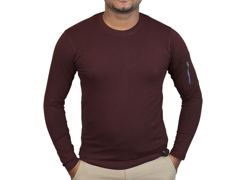 Men's Burgundy Long Sleeve T-Shirt