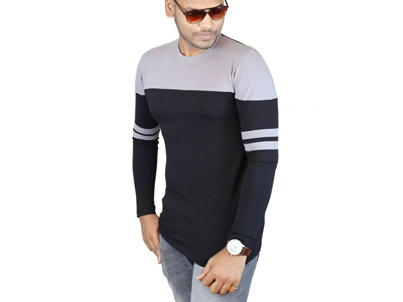 Men's Black  & Grey Long Sleeve T-Shirt