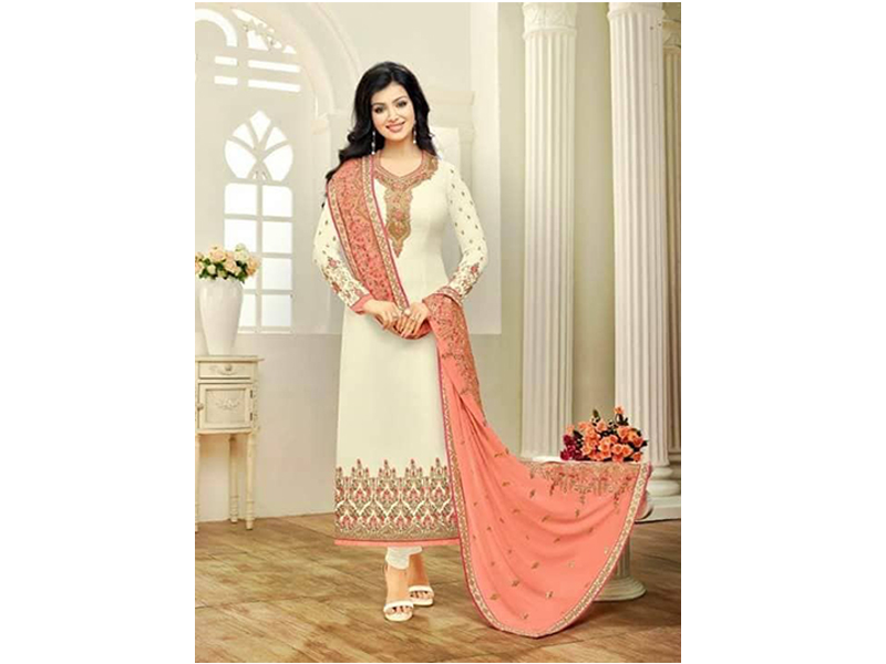 Indian Designer White Colored Embroidery Dress