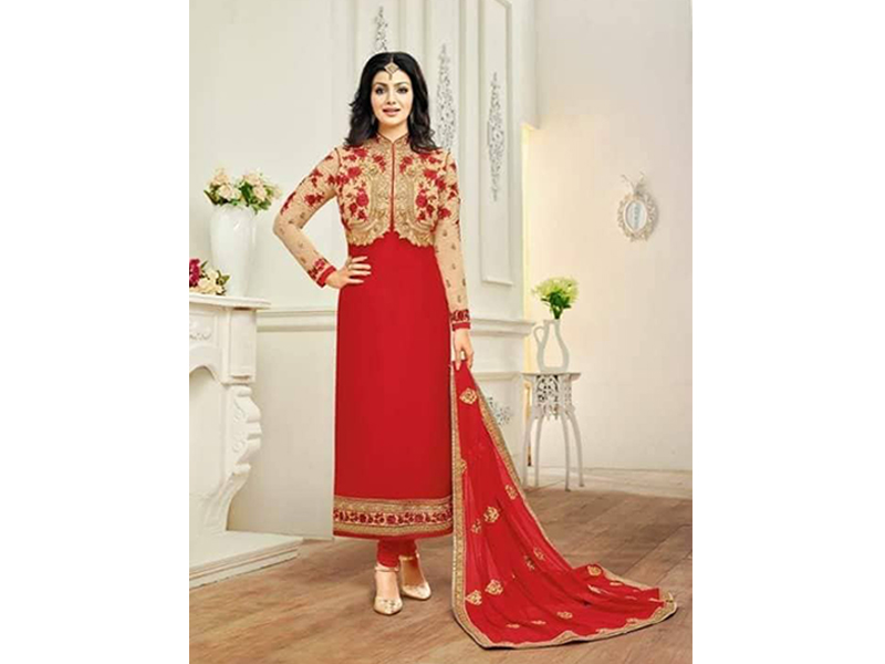 Indian Designer Red Embroidery Dress