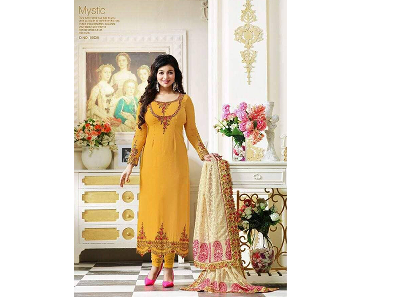 Indian Designer Yellow Embroidery Dress