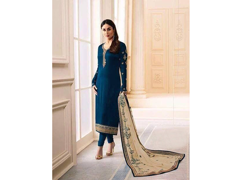 Indian Designer Midnight Green Embroidery Dress
