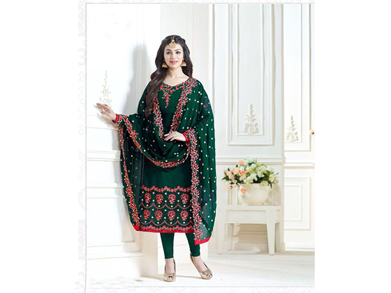 Indian Designer Green & Red Embroidery Dress