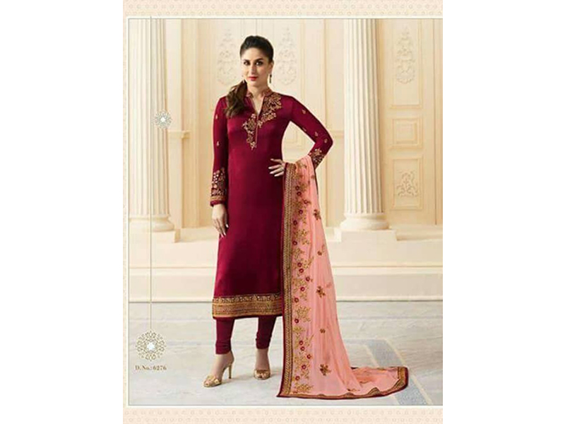 Indian Designer Red & Peach Embroidery Dress