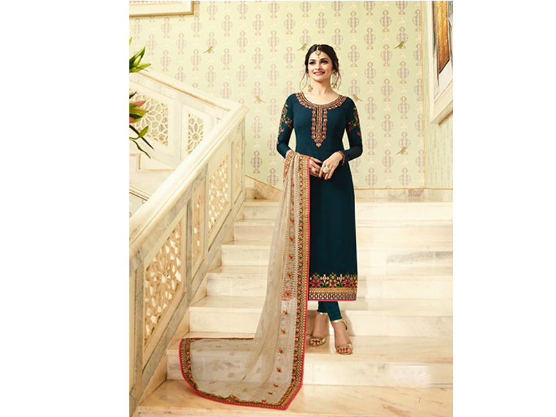 Indian Designer Midnight Green & Base Embroidery Dress