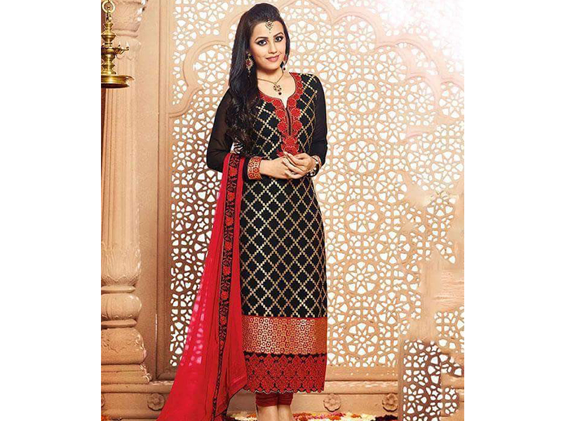 Indian Designer Black & Red Gorgeous  Embroidery Dress