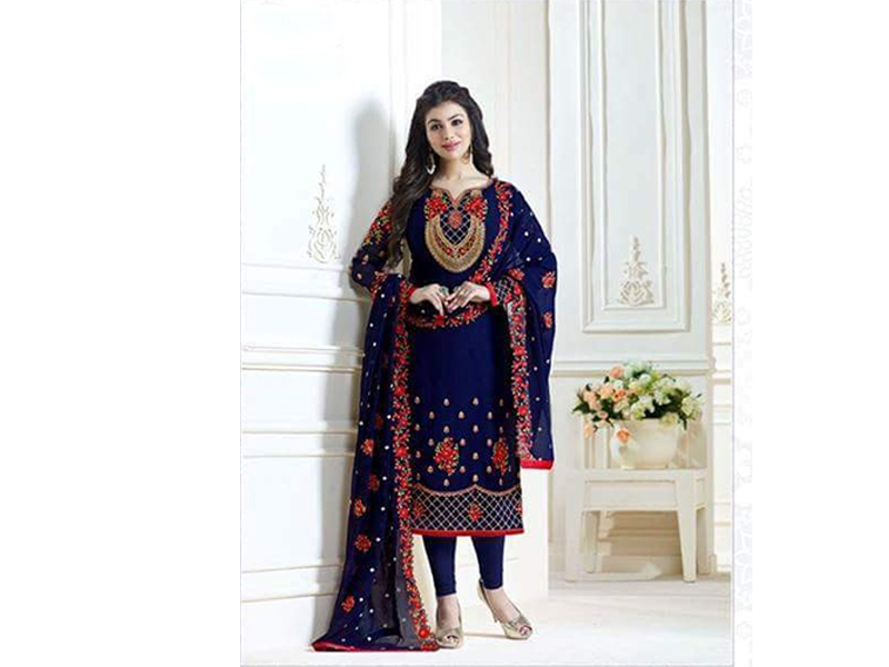 Indian Designer Blue and  Red Embroidery Dress
