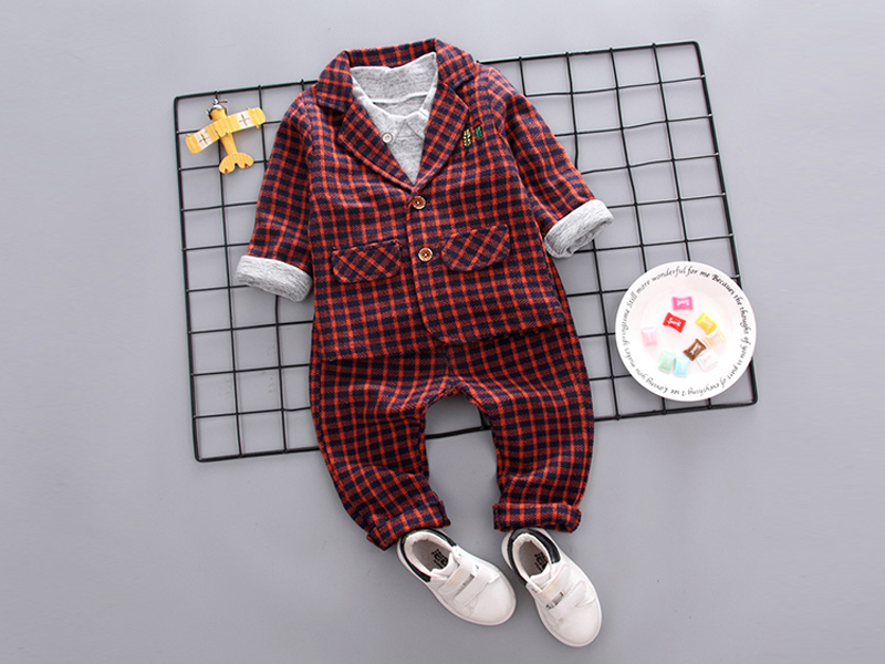 Check Orange Jacket And  Pant For Kids