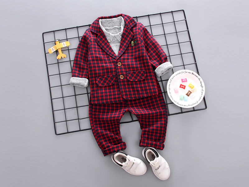 Check Red Jacket And Pant For Kids
