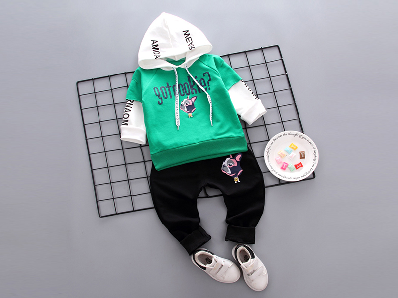 Green Hoodie and Black Pant for Kids