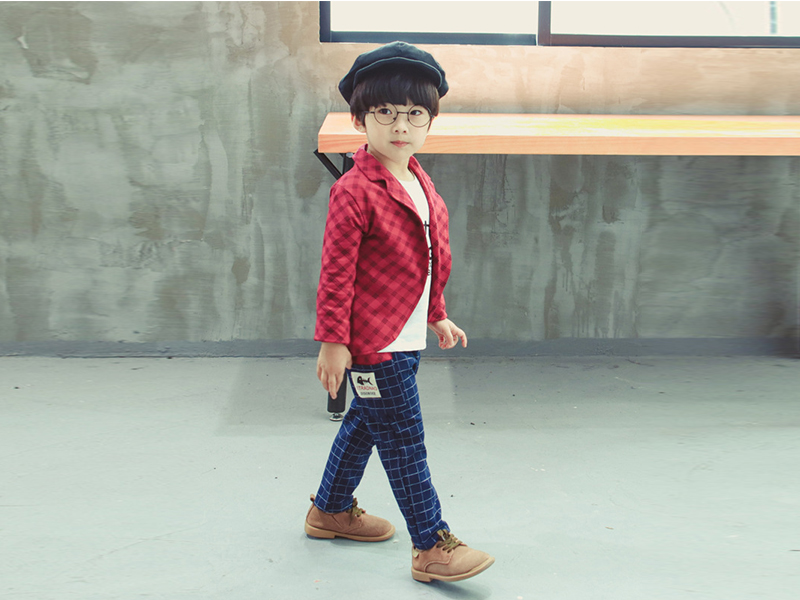Red Jacket and Check Blue Pant