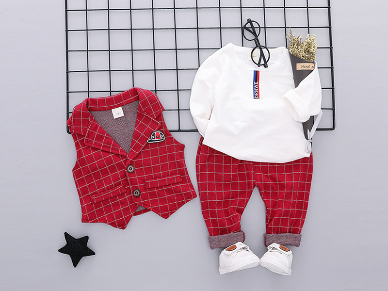 Maroon Check Jacket and Pant for Kids