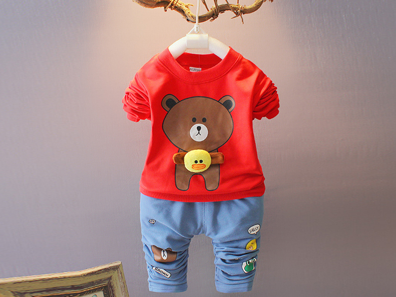 Full Sleeve Red T Shirt & Blue Pant For Kids (1 Year)