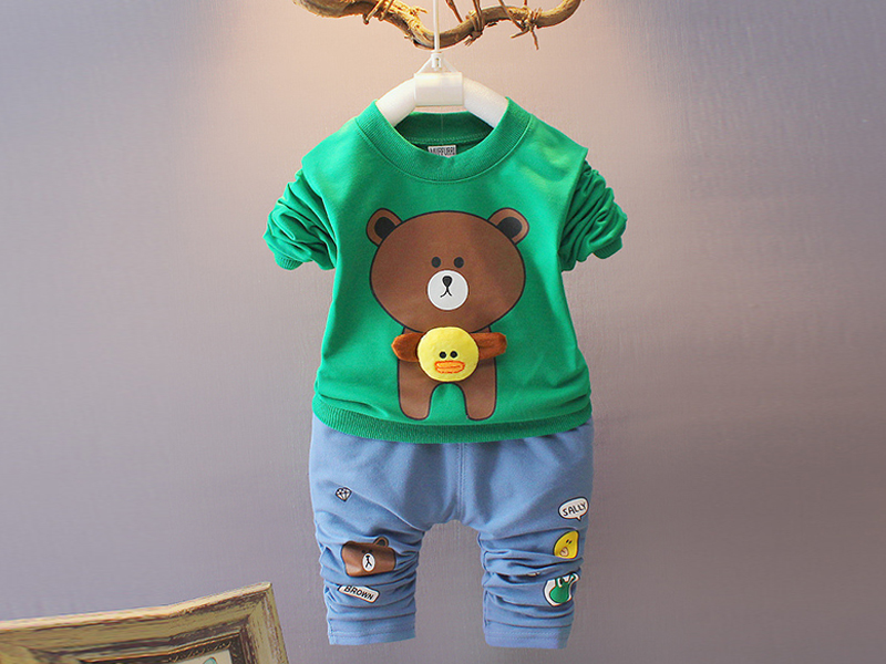 Full Sleeve Green T Shirt & Blue Pant For Kids (1 Year) (1 Year)
