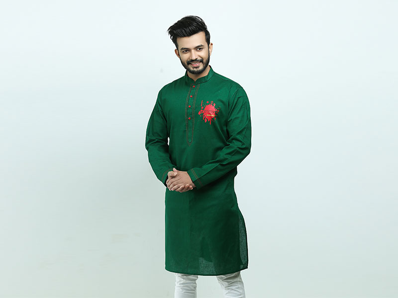 Special Bijoy Dibosh Men's Printed Cotton Punjabi By Swapon's World -SW399P