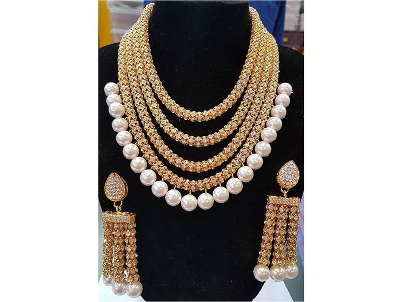 Pearl Chain Link Multi Layer Party  Imitation Necklace Set