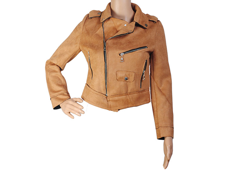 Brown Faux Leather Jacket for Women