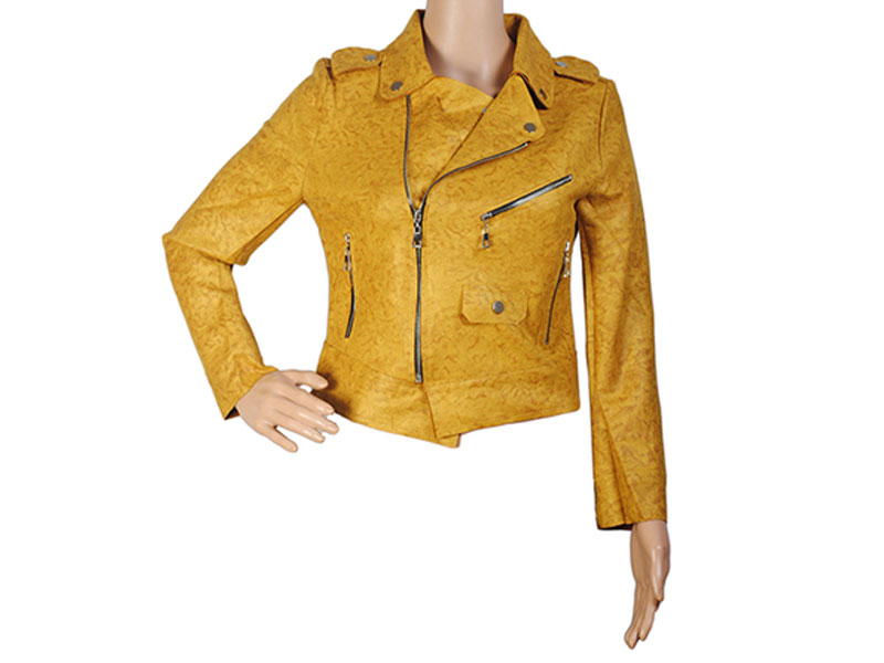 Golden Faux Leather Jacket for Women