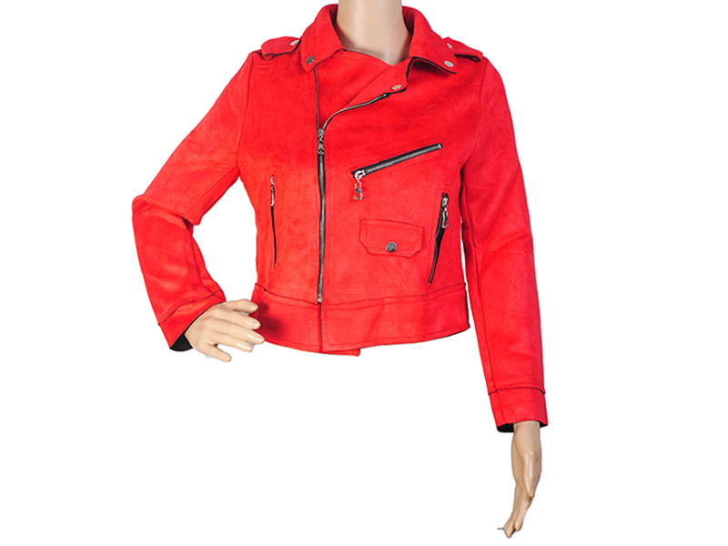 Red Faux Leather Jacket for Women