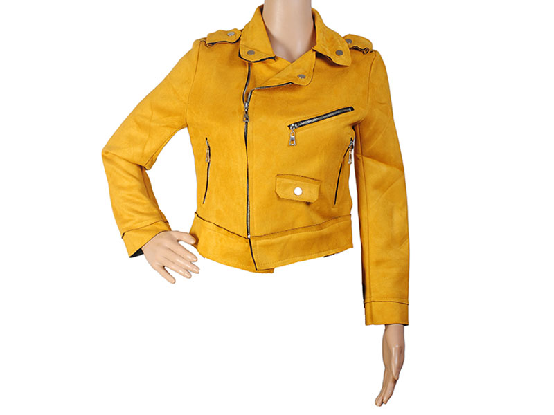 Yellow Faux Leather Jacket for Women