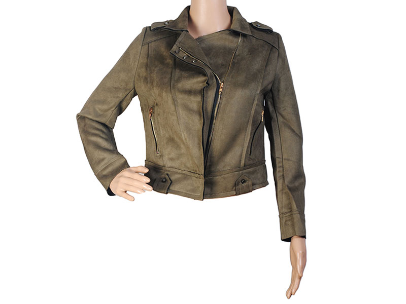Dark Olive Faux Leather Jacket for Women