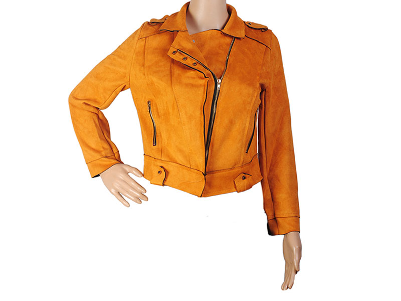 Deep Yellow Faux Leather Jacket for Women
