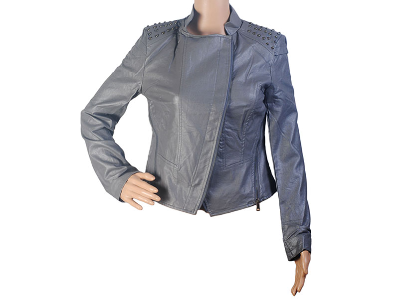 Gray Faux Leather Jacket for Women