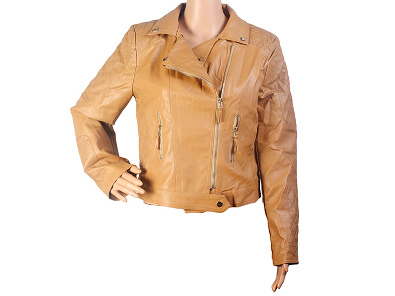 Brown Color  Faux Leather Jacket for Women
