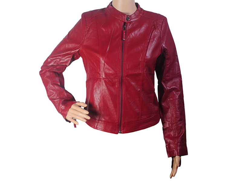 Full Red Faux Leather Jacket for Women