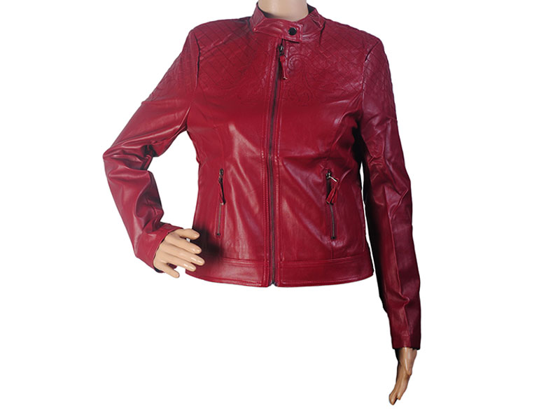 Red Color Faux Leather Jacket for Women