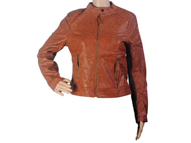 Dark Brown Faux Leather Jacket for Women