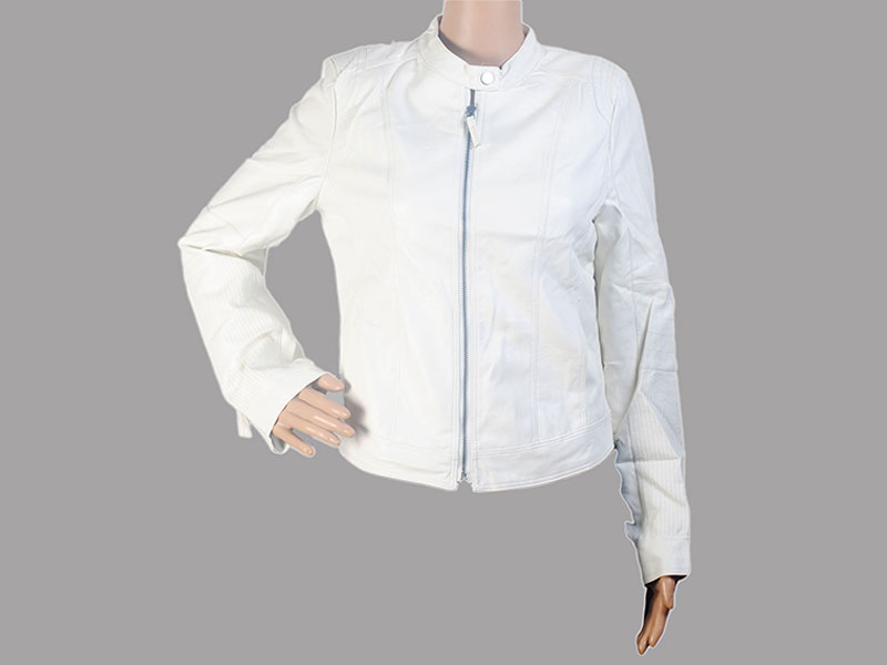 White Faux Leather Jacket for Women