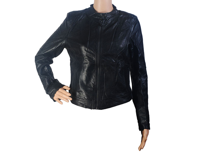 Black Faux Leather Jacket for Women