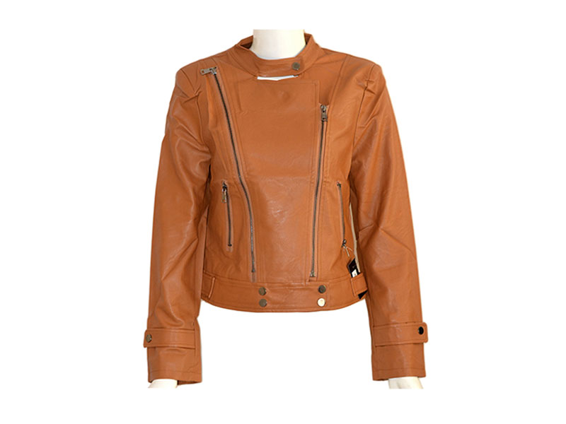 Brown Stylish Faux Leather Jacket for Women