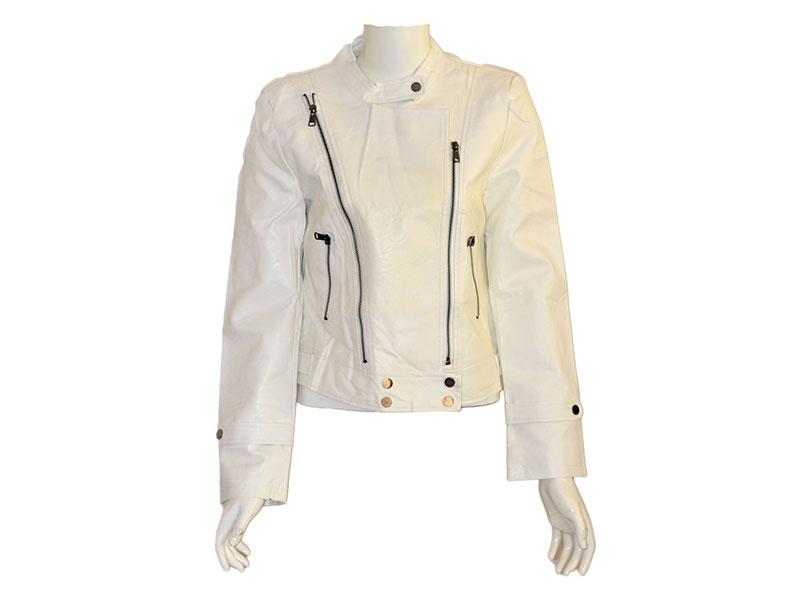 Off White Faux Leather Jacket for Women
